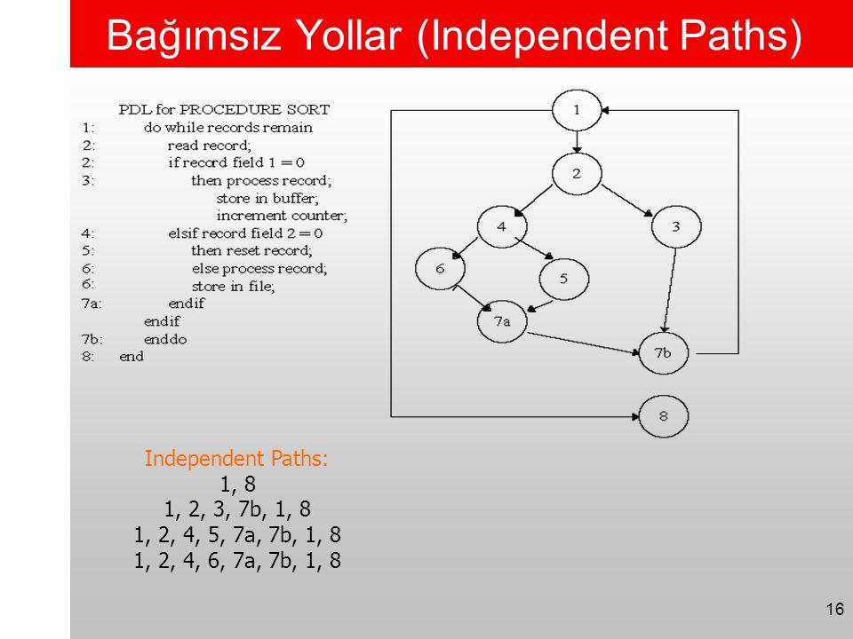 16 Bağımsız Yollar (Independent Paths) Independent Paths: 1, 8 1, 2, 3, 7b, 1, 8 1, 2, 4, 5, 7a, 7b, 1, 8 1, 2, 4, 6, 7a, 7b, 1, 8