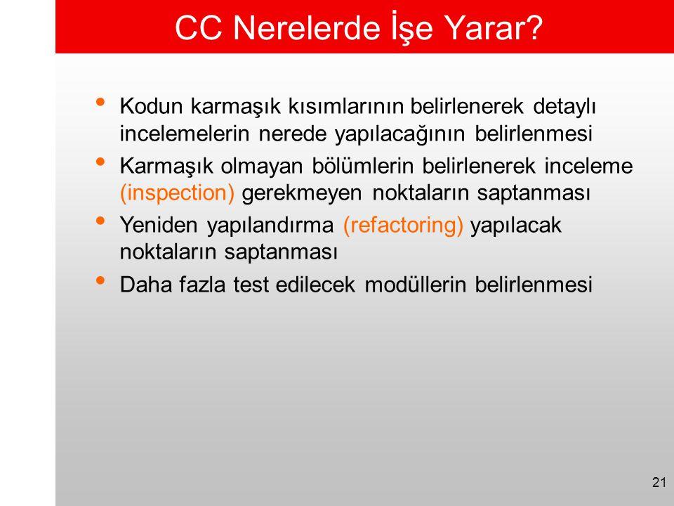 21 CC Nerelerde İşe Yarar? • Kodun karmaşık kısımlarının belirlenerek detaylı incelemelerin nerede yapılacağının belirlenmesi • Karmaşık olmayan bölüm