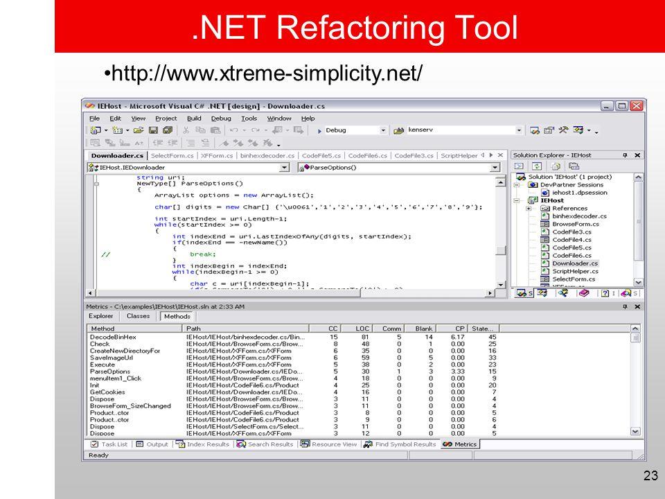 23.NET Refactoring Tool •http://www.xtreme-simplicity.net/