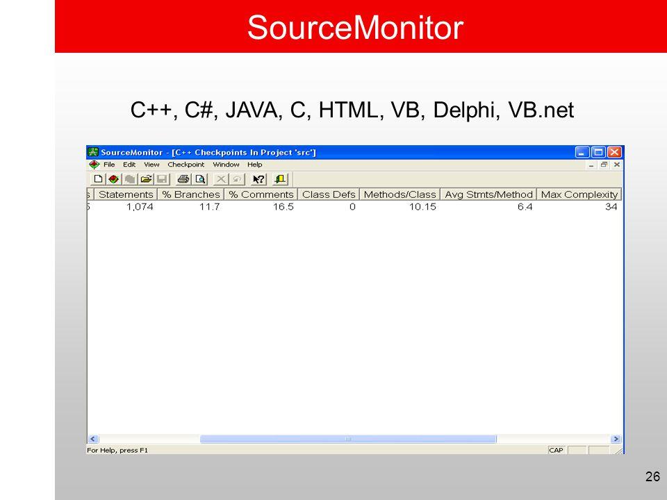 26 SourceMonitor C++, C#, JAVA, C, HTML, VB, Delphi, VB.net