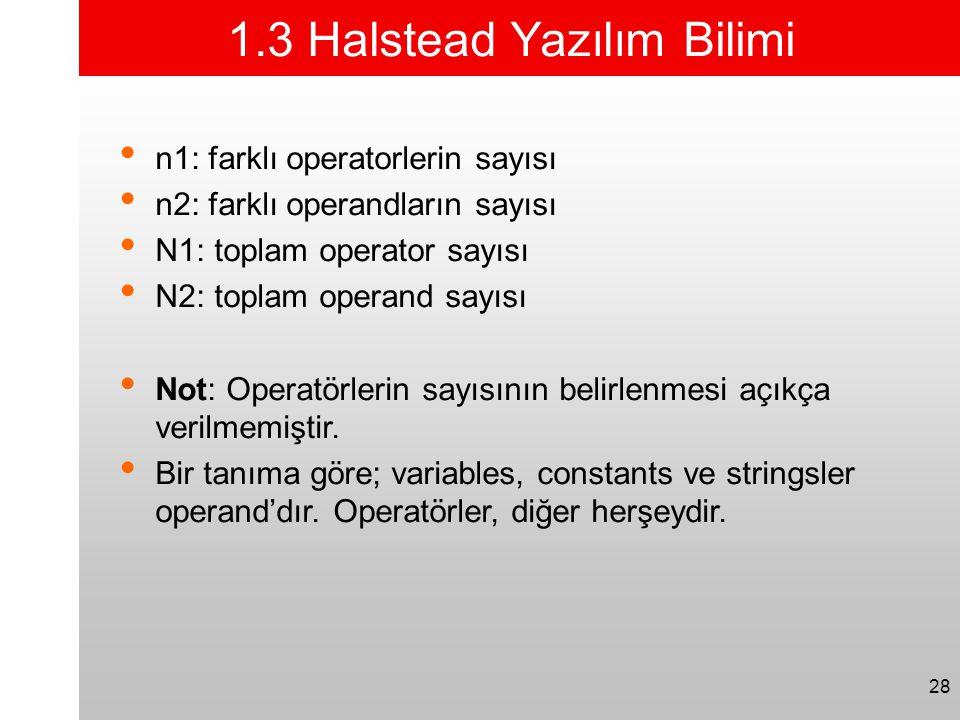28 1.3 Halstead Yazılım Bilimi • n1: farklı operatorlerin sayısı • n2: farklı operandların sayısı • N1: toplam operator sayısı • N2: toplam operand sa