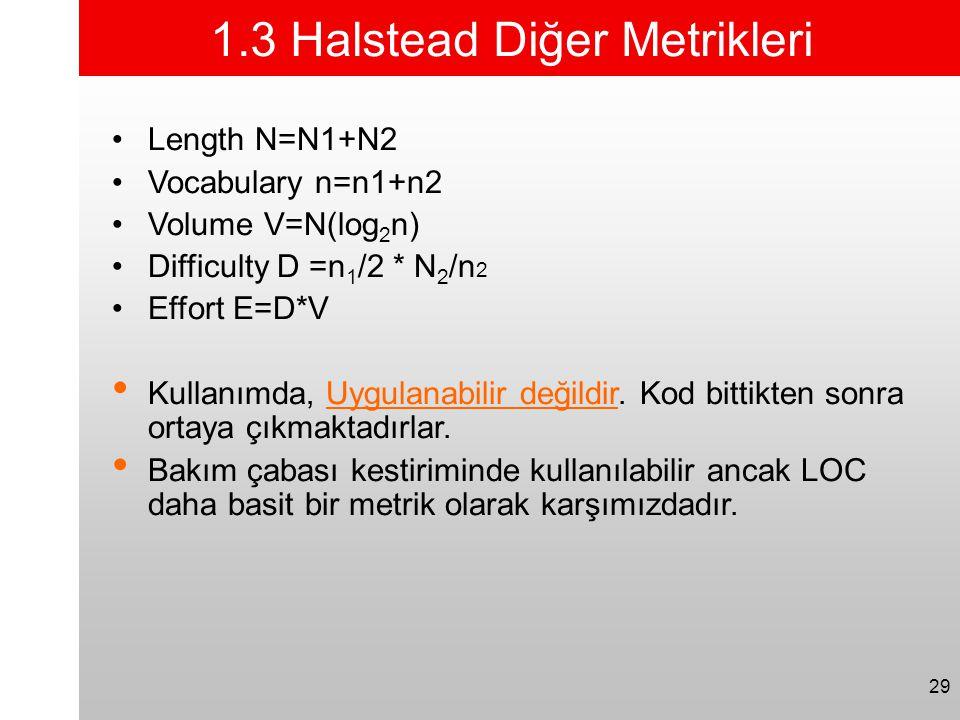 29 1.3 Halstead Diğer Metrikleri •Length N=N1+N2 •Vocabulary n=n1+n2 •Volume V=N(log 2 n) •Difficulty D =n 1 /2 * N 2 /n 2 •Effort E=D*V • Kullanımda,