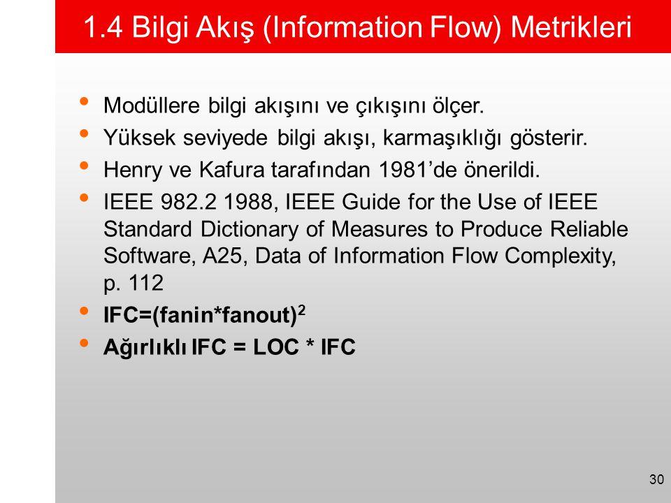 30 1.4 Bilgi Akış (Information Flow) Metrikleri • Modüllere bilgi akışını ve çıkışını ölçer. • Yüksek seviyede bilgi akışı, karmaşıklığı gösterir. • H