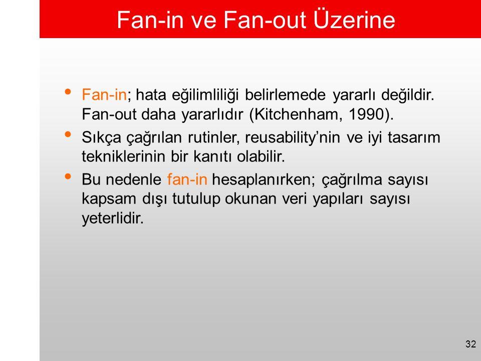 32 Fan-in ve Fan-out Üzerine • Fan-in; hata eğilimliliği belirlemede yararlı değildir. Fan-out daha yararlıdır (Kitchenham, 1990). • Sıkça çağrılan ru