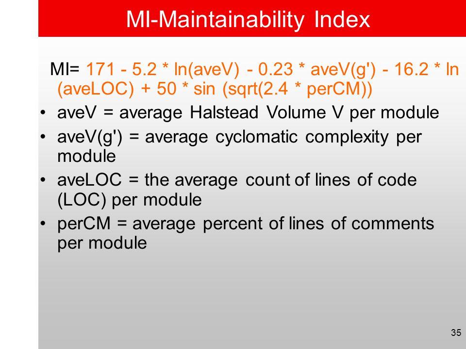 35 MI-Maintainability Index MI= 171 - 5.2 * ln(aveV) - 0.23 * aveV(g') - 16.2 * ln (aveLOC) + 50 * sin (sqrt(2.4 * perCM)) •aveV = average Halstead Vo