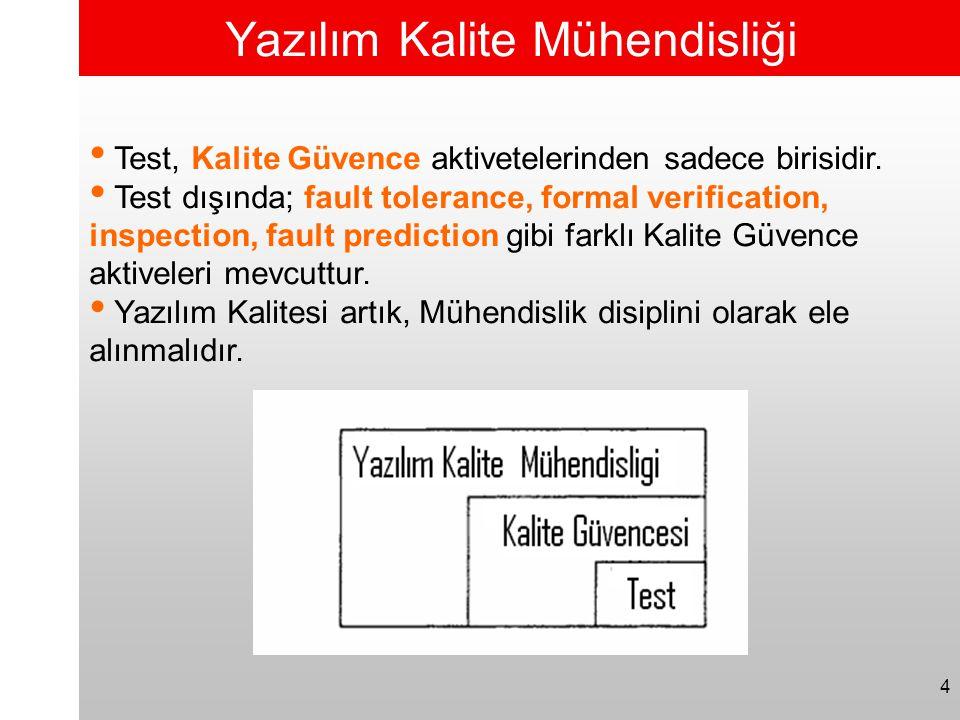 4 Yazılım Kalite Mühendisliği • Test, Kalite Güvence aktivetelerinden sadece birisidir. • Test dışında; fault tolerance, formal verification, inspecti