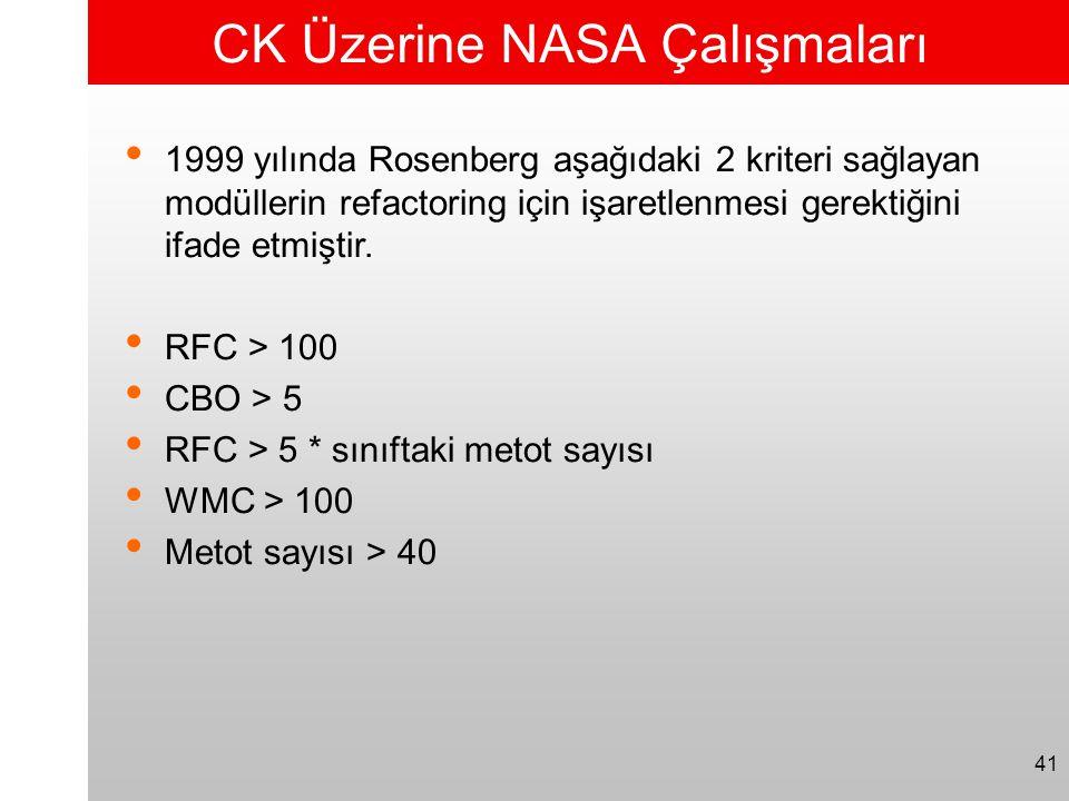 41 CK Üzerine NASA Çalışmaları • 1999 yılında Rosenberg aşağıdaki 2 kriteri sağlayan modüllerin refactoring için işaretlenmesi gerektiğini ifade etmiş