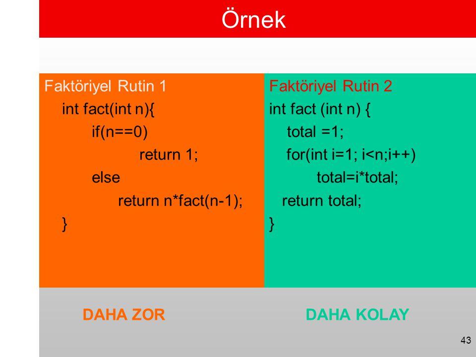 43 Örnek Faktöriyel Rutin 1 int fact(int n){ if(n==0) return 1; else return n*fact(n-1); } Faktöriyel Rutin 2 int fact (int n) { total =1; for(int i=1