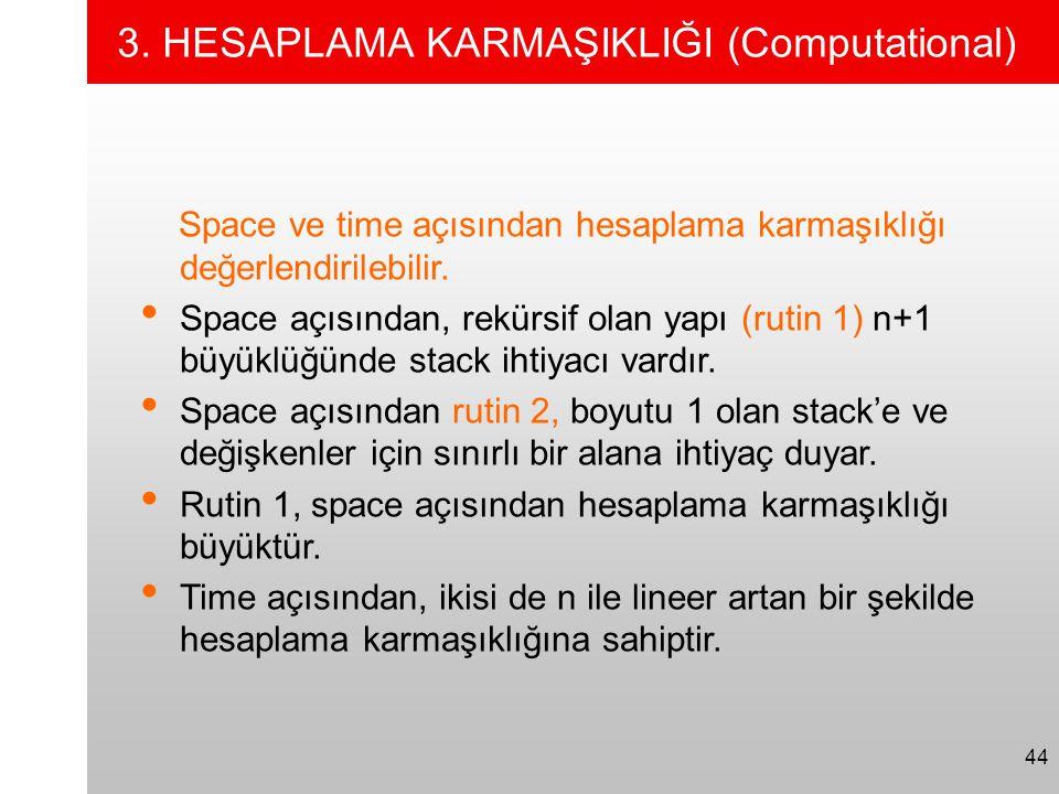 44 3. HESAPLAMA KARMAŞIKLIĞI (Computational) Space ve time açısından hesaplama karmaşıklığı değerlendirilebilir. • Space açısından, rekürsif olan yapı