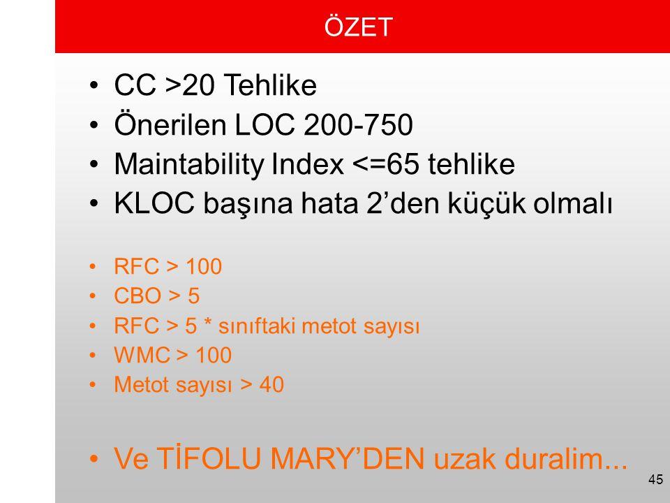 45 ÖZET •CC >20 Tehlike •Önerilen LOC 200-750 •Maintability Index <=65 tehlike •KLOC başına hata 2'den küçük olmalı •RFC > 100 •CBO > 5 •RFC > 5 * sın