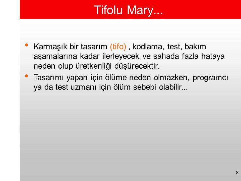 8 Tifolu Mary... • Karmaşık bir tasarım (tifo), kodlama, test, bakım aşamalarına kadar ilerleyecek ve sahada fazla hataya neden olup üretkenliği düşür