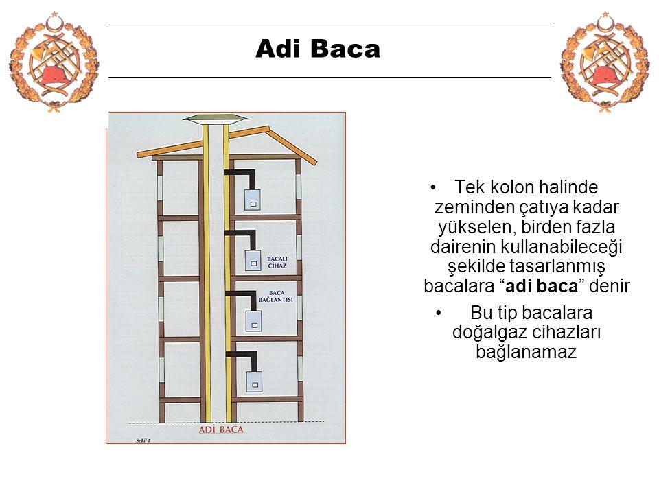 4 Adi Baca •Tek kolon halinde zeminden çatıya kadar yükselen, birden fazla dairenin kullanabileceği şekilde tasarlanmış bacalara adi baca denir • Bu tip bacalara doğalgaz cihazları bağlanamaz