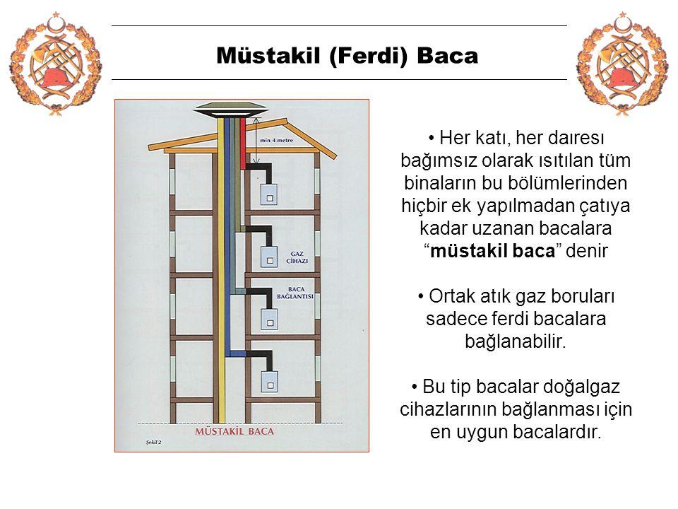 5 Müstakil (Ferdi) Baca • Her katı, her dairesi bağımsız olarak ısıtılan tüm binaların bu bölümlerinden hiçbir ek yapılmadan çatıya kadar uzanan bacalara müstakil baca denir • Ortak atık gaz boruları sadece ferdi bacalara bağlanabilir.