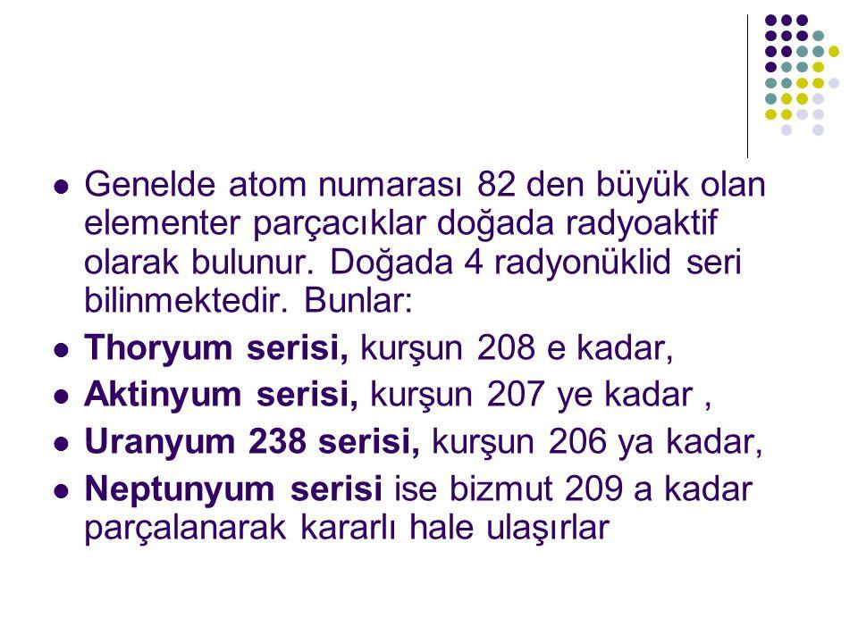  Genelde atom numarası 82 den büyük olan elementer parçacıklar doğada radyoaktif olarak bulunur.