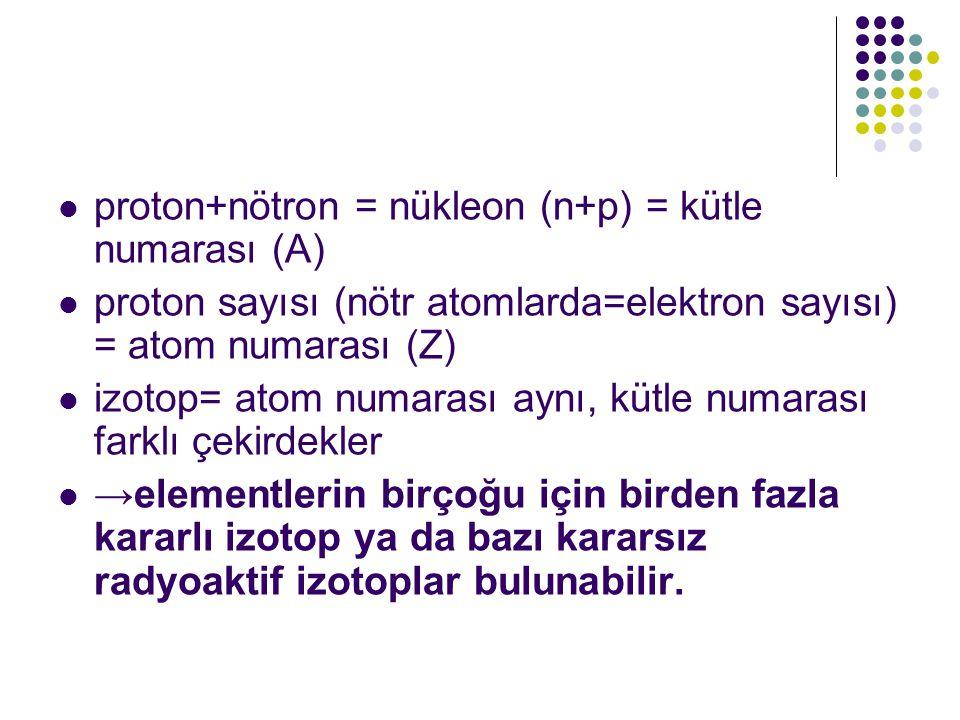  proton+nötron = nükleon (n+p) = kütle numarası (A)  proton sayısı (nötr atomlarda=elektron sayısı) = atom numarası (Z)  izotop= atom numarası aynı, kütle numarası farklı çekirdekler  →elementlerin birçoğu için birden fazla kararlı izotop ya da bazı kararsız radyoaktif izotoplar bulunabilir.