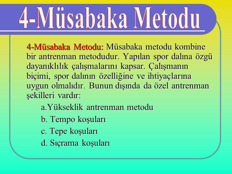 4-Müsabaka Metodu: Müsabaka metodu kombine bir antrenman metodudur. Yapılan spor dalına özgü dayanıklılık çalışmalarını kapsar. Çalışmanın biçimi, spo