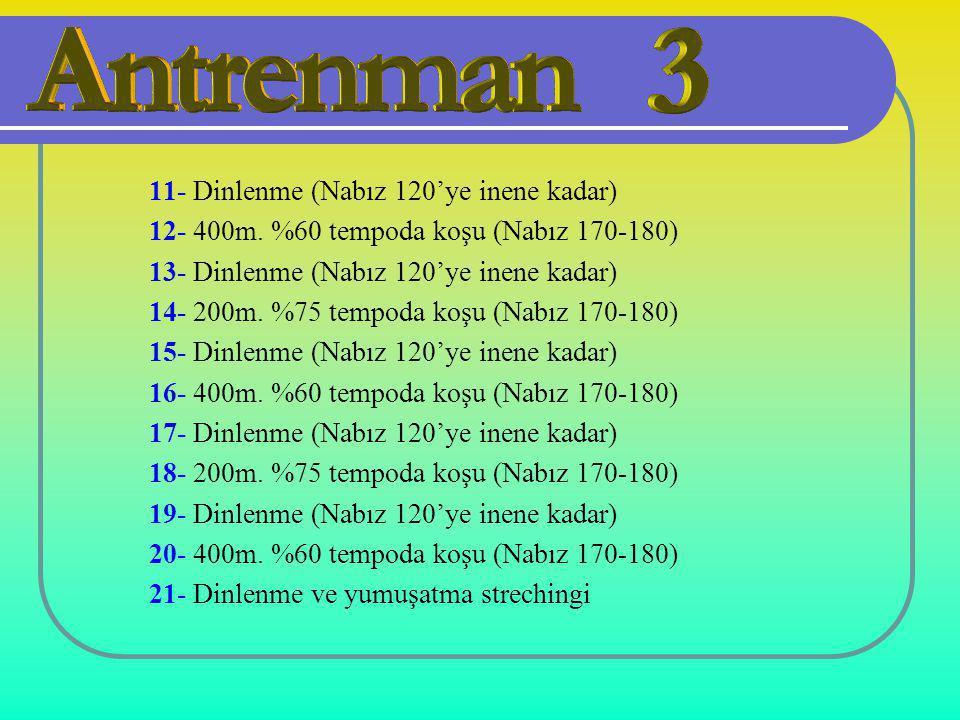 11- Dinlenme (Nabız 120'ye inene kadar) 12- 400m. %60 tempoda koşu (Nabız 170-180) 13- Dinlenme (Nabız 120'ye inene kadar) 14- 200m. %75 tempoda koşu