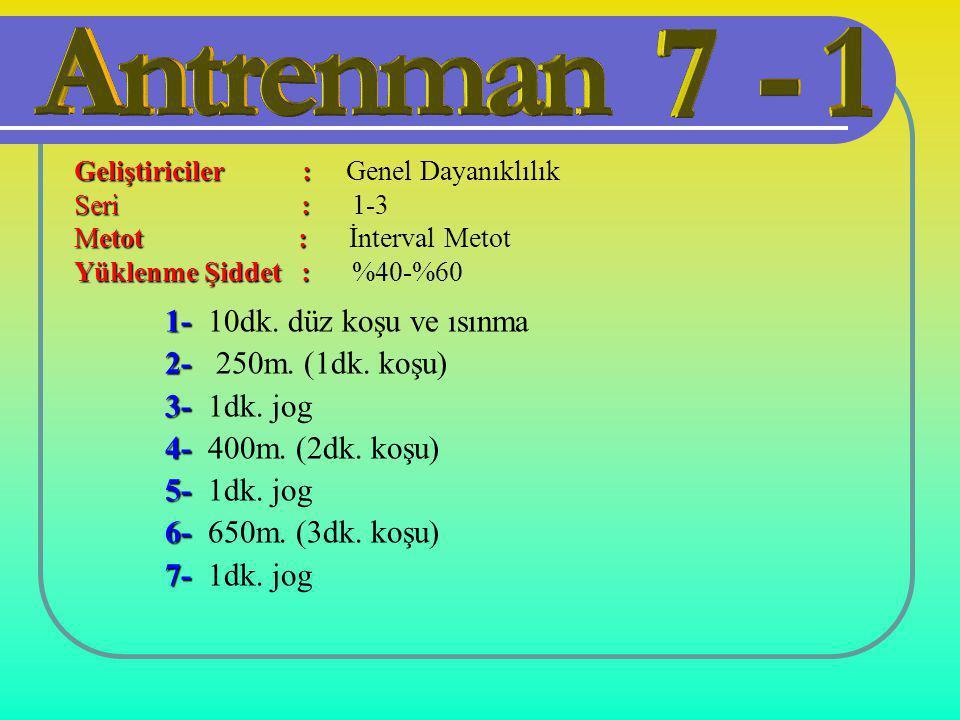 1- 1- 10dk. düz koşu ve ısınma 2- 2- 250m. (1dk. koşu) 3- 3- 1dk. jog 4- 4- 400m. (2dk. koşu) 5- 5- 1dk. jog 6- 6- 650m. (3dk. koşu) 7- 7- 1dk. jog Ge
