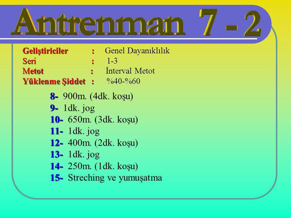 8- 8- 900m. (4dk. koşu) 9- 9- 1dk. jog 10- 10- 650m. (3dk. koşu) 11- 11- 1dk. jog 12- 12- 400m. (2dk. koşu) 13- 13- 1dk. jog 14- 14- 250m. (1dk. koşu)