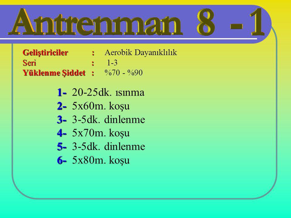 1- 1- 20-25dk. ısınma 2- 2- 5x60m. koşu 3- 3- 3-5dk. dinlenme 4- 4- 5x70m. koşu 5- 5- 3-5dk. dinlenme 6- 6- 5x80m. koşu Geliştiriciler : Seri : Yüklen