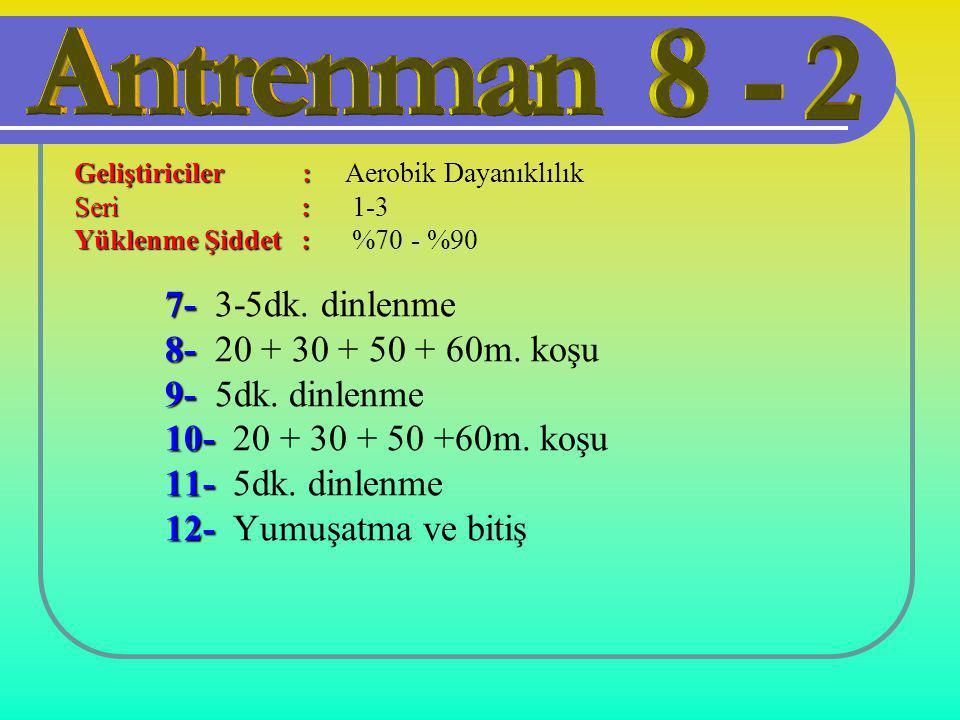 7- 7- 3-5dk. dinlenme 8- 8- 20 + 30 + 50 + 60m. koşu 9- 9- 5dk. dinlenme 10- 10- 20 + 30 + 50 +60m. koşu 11- 11- 5dk. dinlenme 12- 12- Yumuşatma ve bi