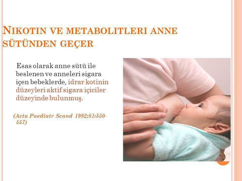N IKOTIN VE METABOLITLERI ANNE SÜTÜNDEN GEÇER Esas olarak anne sütü ile beslenen ve anneleri sigara içen bebeklerde, idrar kotinin düzeyleri aktif sigara içiciler düzeyinde bulunmuş.