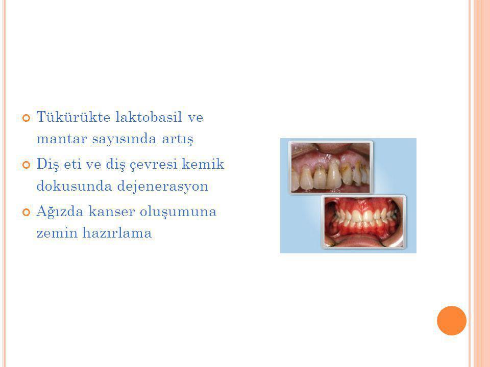 Tükürükte laktobasil ve mantar sayısında artış Diş eti ve diş çevresi kemik dokusunda dejenerasyon Ağızda kanser oluşumuna zemin hazırlama