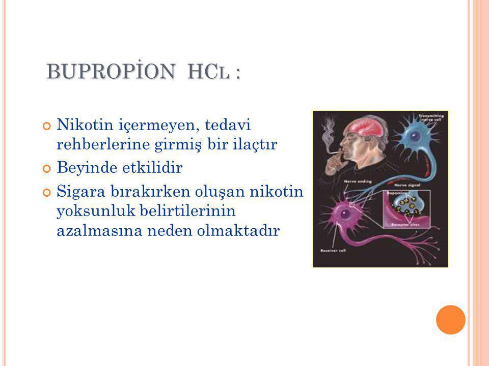 BUPROPİON HC L : Nikotin içermeyen, tedavi rehberlerine girmiş bir ilaçtır Beyinde etkilidir Sigara bırakırken oluşan nikotin yoksunluk belirtilerinin azalmasına neden olmaktadır