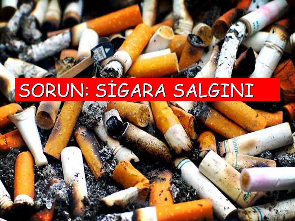 SİGARA VE DOLAŞIM SİSTEMİ Sigara içenlerde kalp krizi geçirme riski 3 kat artmaktadır Sigara, kan dolaşımını ve damarları etkiler Beyin damarı hastalıkları ve felç olma riskini artırır Bacak kangrenlerine neden olur