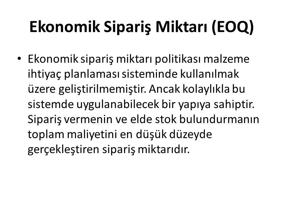 Ekonomik Sipariş Miktarı (EOQ) • Ekonomik sipariş miktarı politikası malzeme ihtiyaç planlaması sisteminde kullanılmak üzere geliştirilmemiştir. Ancak