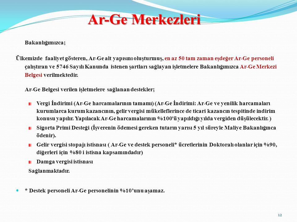 Ar-Ge Merkezleri Bakanlığımızca; Ülkemizde faaliyet gösteren, Ar-Ge alt yapısını oluşturmuş, en az 50 tam zaman eşdeğer Ar-Ge personeli çalıştıran ve