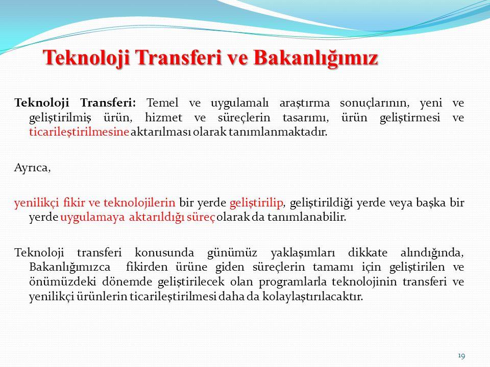 Teknoloji Transferi ve Bakanlığımız Teknoloji Transferi: Temel ve uygulamalı araştırma sonuçlarının, yeni ve geliştirilmiş ürün, hizmet ve süreçlerin