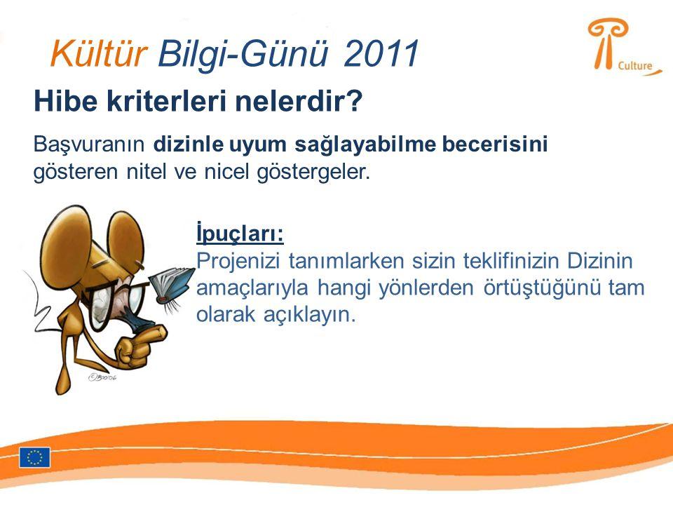 Kültür Bilgi-Günü 2011 Hibe kriterleri nelerdir.