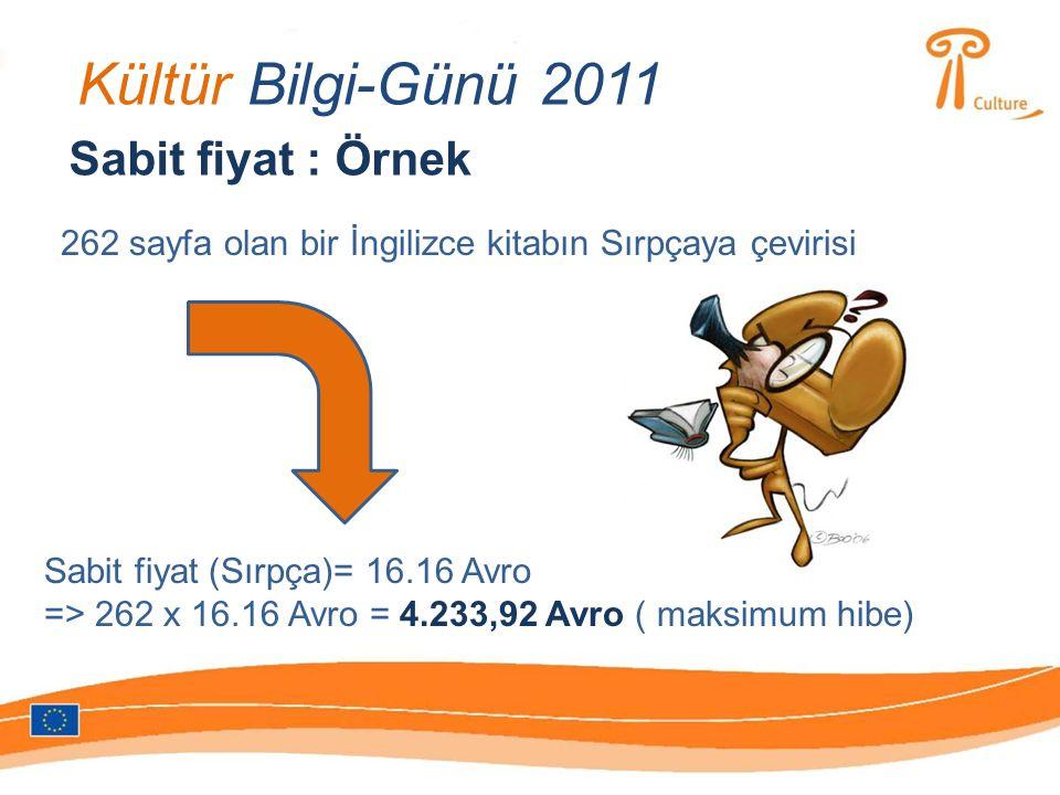 Kültür Bilgi-Günü 2011 Sabit fiyat : Örnek 262 sayfa olan bir İngilizce kitabın Sırpçaya çevirisi Sabit fiyat (Sırpça)= 16.16 Avro => 262 x 16.16 Avro = 4.233,92 Avro ( maksimum hibe)