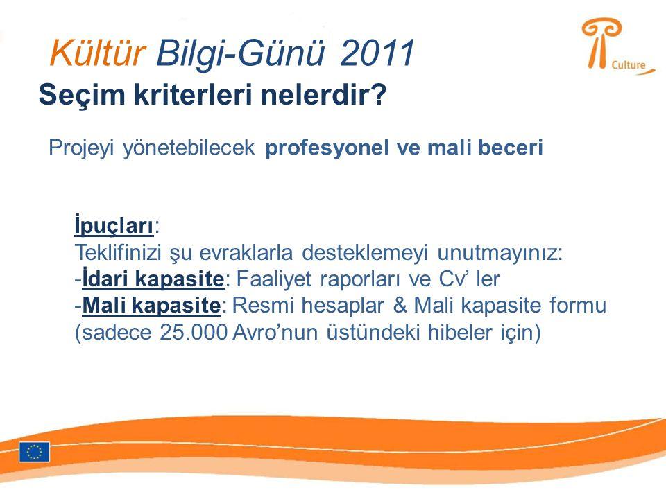 Kültür Bilgi-Günü 2011 Seçim kriterleri nelerdir.