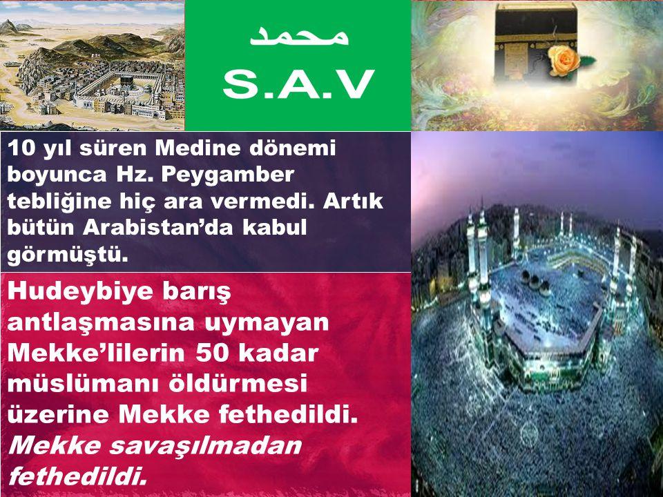10 yıl süren Medine dönemi boyunca Hz. Peygamber tebliğine hiç ara vermedi. Artık bütün Arabistan'da kabul görmüştü. Hudeybiye barış antlaşmasına uyma