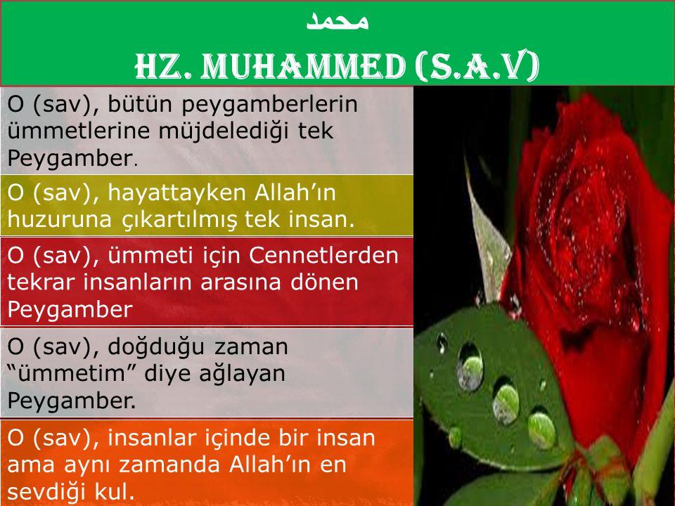 O (sav), bütün peygamberlerin ümmetlerine müjdelediği tek Peygamber. O (sav), hayattayken Allah'ın huzuruna çıkartılmış tek insan. O (sav), ümmeti içi