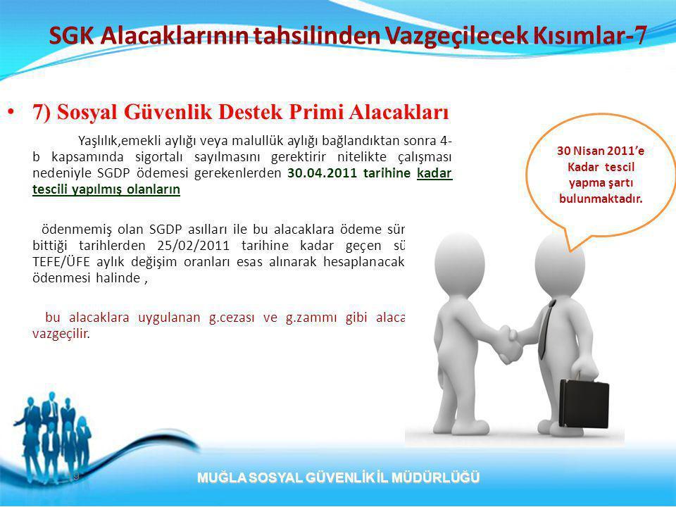 19 SGK Alacaklarının tahsilinden Vazgeçilecek Kısımlar- 7 • 7) Sosyal Güvenlik Destek Primi Alacakları Yaşlılık,emekli aylığı veya malullük aylığı bağlandıktan sonra 4- b kapsamında sigortalı sayılmasını gerektirir nitelikte çalışması nedeniyle SGDP ödemesi gerekenlerden 30.04.2011 tarihine kadar tescili yapılmış olanların ödenmemiş olan SGDP asılları ile bu alacaklara ödeme sürelerinin bittiği tarihlerden 25/02/2011 tarihine kadar geçen süre için TEFE/ÜFE aylık değişim oranları esas alınarak hesaplanacak tutarın ödenmesi halinde, bu alacaklara uygulanan g.cezası ve g.zammı gibi alacaklardan vazgeçilir.
