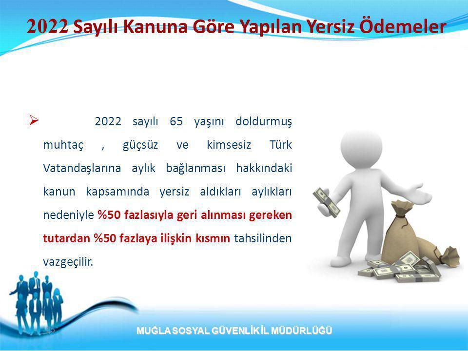  2022 sayılı 65 yaşını doldurmuş muhtaç, güçsüz ve kimsesiz Türk Vatandaşlarına aylık bağlanması hakkındaki kanun kapsamında yersiz aldıkları aylıkları nedeniyle %50 fazlasıyla geri alınması gereken tutardan %50 fazlaya ilişkin kısmın tahsilinden vazgeçilir.