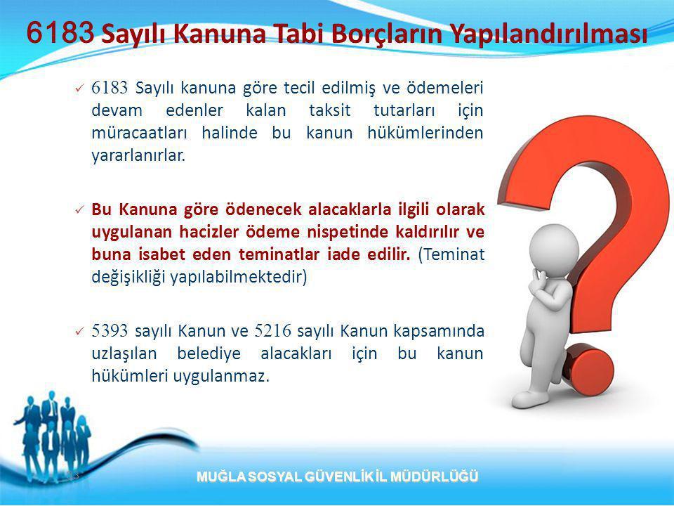 6183 Sayılı Kanuna Tabi Borçların Yapılandırılması  6183 Sayılı kanuna göre tecil edilmiş ve ödemeleri devam edenler kalan taksit tutarları için müracaatları halinde bu kanun hükümlerinden yararlanırlar.