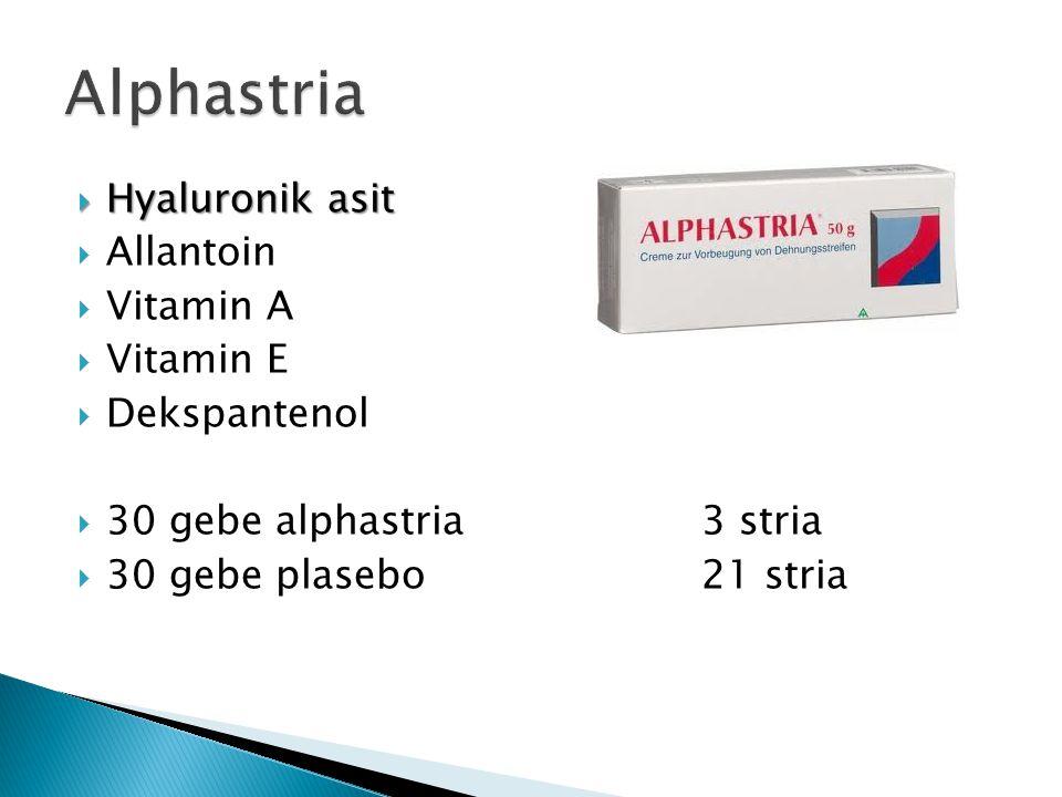  Hyaluronik asit  Allantoin  Vitamin A  Vitamin E  Dekspantenol  30 gebe alphastria3 stria  30 gebe plasebo21 stria