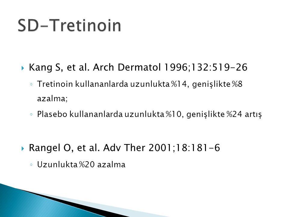  Kang S, et al. Arch Dermatol 1996;132:519-26 ◦ Tretinoin kullananlarda uzunlukta %14, genişlikte %8 azalma; ◦ Plasebo kullananlarda uzunlukta %10, g