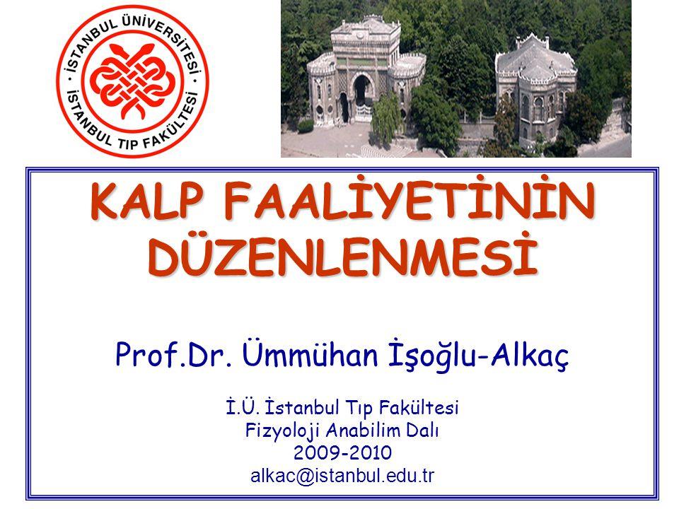 KALP FAALİYETİNİN DÜZENLENMESİ KALP FAALİYETİNİN DÜZENLENMESİ Prof.Dr. Ümmühan İşoğlu-Alkaç İ.Ü. İstanbul Tıp Fakültesi Fizyoloji Anabilim Dalı 2009-2