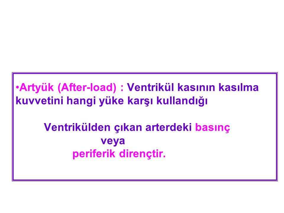 •Artyük (After-load) : Ventrikül kasının kasılma kuvvetini hangi yüke karşı kullandığı Ventrikülden çıkan arterdeki basınç veya periferik dirençtir.