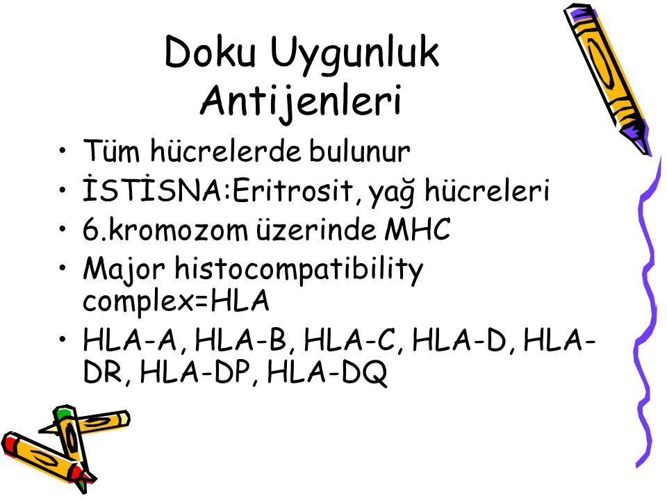 Doku Uygunluk Antijenleri •Tüm hücrelerde bulunur •İSTİSNA:Eritrosit, yağ hücreleri •6.kromozom üzerinde MHC •Major histocompatibility complex=HLA •HL