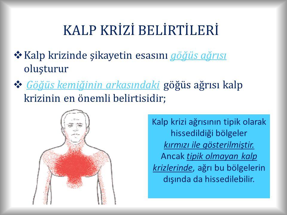 KALP KRİZİ BELİRTİLERİ  Kalp krizinde şikayetin esasını göğüs ağrısı oluşturur  Göğüs kemiğinin arkasındaki göğüs ağrısı kalp krizinin en önemli belirtisidir; Kalp krizi ağrısının tipik olarak hissedildiği bölgeler kırmızı ile gösterilmiştir.