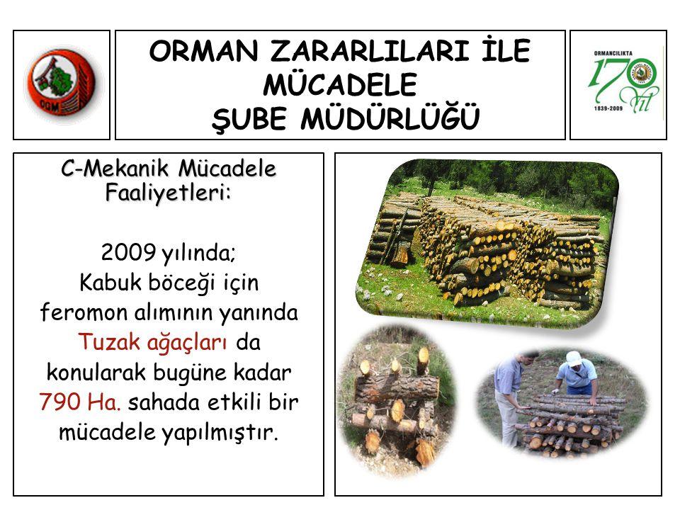 ORMAN ZARARLILARI İLE MÜCADELE ŞUBE MÜDÜRLÜĞÜ C-Mekanik Mücadele Faaliyetleri: 2009 yılında; Kabuk böceği için feromon alımının yanında Tuzak ağaçları da konularak bugüne kadar 790 Ha.