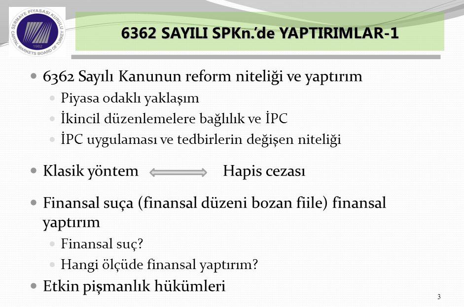  6362 Sayılı Kanunun reform niteliği ve yaptırım  Piyasa odaklı yaklaşım  İkincil düzenlemelere bağlılık ve İPC  İPC uygulaması ve tedbirlerin değişen niteliği  Klasik yöntem Hapis cezası  Finansal suça (finansal düzeni bozan fiile) finansal yaptırım  Finansal suç.