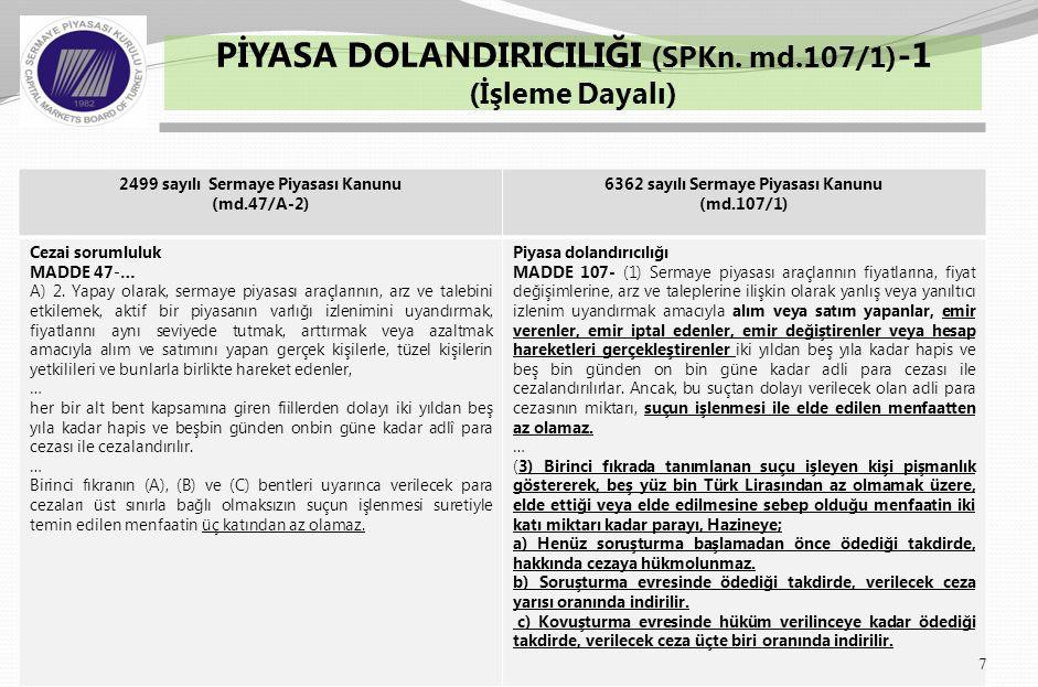 8 PİYASA DOLANDIRICILIĞI (SPKn. md.107/1) -2 (İşleme Dayalı)