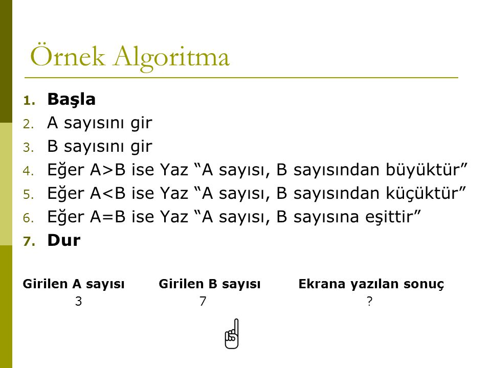 """Örnek Algoritma 1. Başla 2. A sayısını gir 3. B sayısını gir 4. Eğer A>B ise Yaz """"A sayısı, B sayısından büyüktür"""" 5. Eğer A<B ise Yaz """"A sayısı, B sa"""